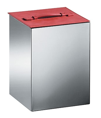 WS Bath Collections Complements Secioni 4.25 Gallon Trash Can; Red Leather