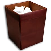 Dacasso 1000 Series Classic Leather 3.5 Gallon Waste Basket; Mocha