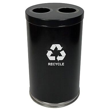 Witt Metal Recycling Multi Compartment 36 Gallon Recycling Bin; Black