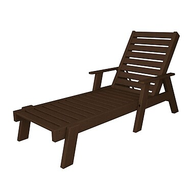 POLYWOOD Captain Chaise Lounge w/ Arms; Mahogany