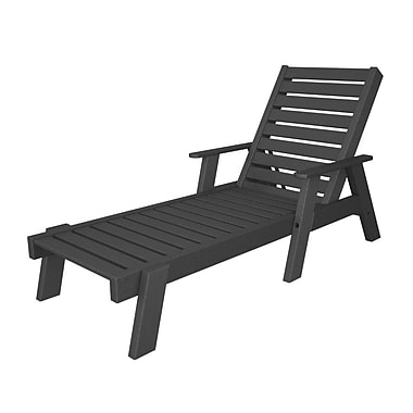 POLYWOOD Captain Chaise Lounge w/ Arms; Slate Grey
