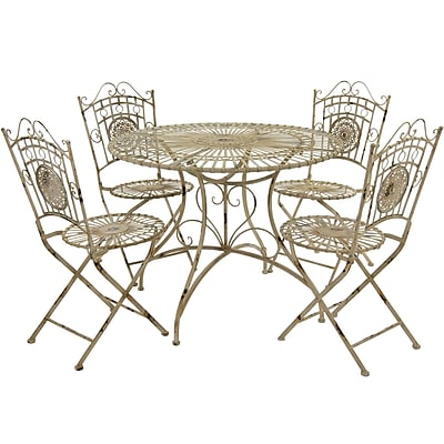 Oriental Furniture 5 Piece Dining Set; Distressed White