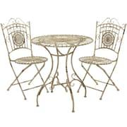 Oriental Furniture 3 Piece Bistro Set; Distressed White