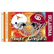 BSI Products NCAA Rivalry House Divided Traditional Flag; Oklahoma vs. Texas - Helmet