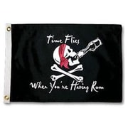 Taylor Made Products Pirate Heads 'Time Flies When Your Having Rum' Traditional Flag