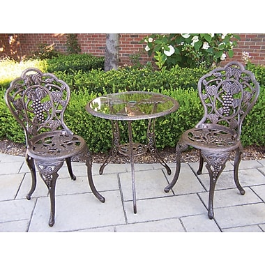 Oakland Living Vineyard Bistro Set; Antique Bronze