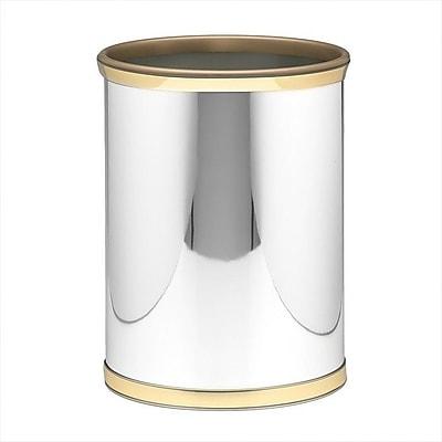 Kraftware Mylar 3.25 Gallon Waste Basket; Polished Chrome / Brass Band