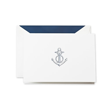 Crane & Co™ Thermographed Pearl White Note With Envelope, Navy Blue Anchor