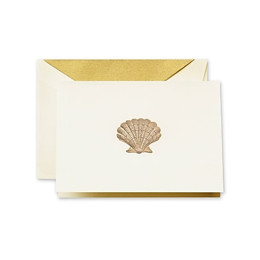 Crane & Co™ Hand Engraved Ecru White Note With Envelope, Gold Scallop