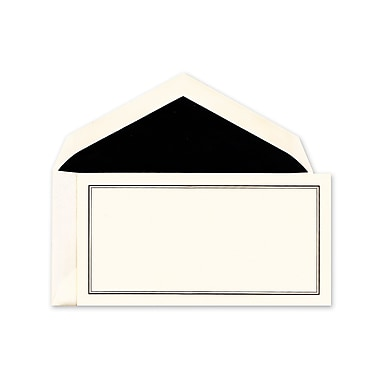 Crane & Co™ Ecru Correspondence Card With Envelope, Black Double Rule Line Frame Monarch