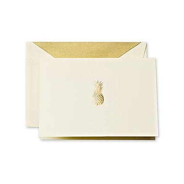 Crane & Co™ Hand Engraved Ecru Note With Envelope, Gold Pineapple
