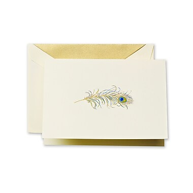 Crane & Co™ Hand Engraved Ecru Note With Envelope, Gold Peacock Feather