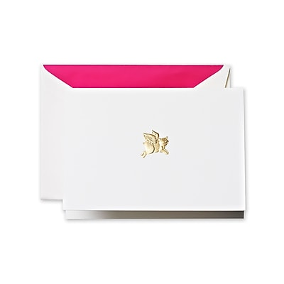 Crane & Co™ Hand Engraved Pearl White Note With Envelope, Gold When Pigs Fly
