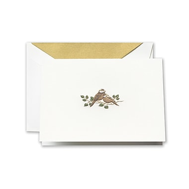 Crane & Co™ Hand Engraved Pearl White Note With Envelope, Gold Love Bird