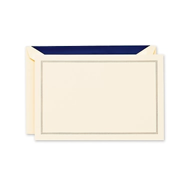 Crane & Co™ Lithographed Ecru White Correspondence Card With Envelope, Regent Blue Triple Hairline