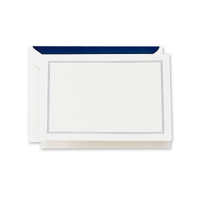 Crane & Co™ Lithographed Pearl White Note With Envelope, Navy Blue Triple Hairline