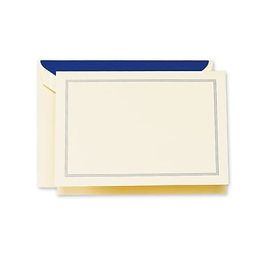Crane & Co™ Lithographed Ecru White Note With Envelope, Regent Blue Triple Hairline