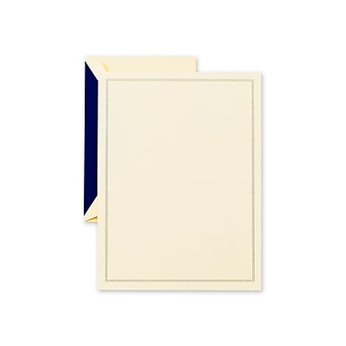 Crane & Co™ Lithographed Ecru White Half Sheet With Envelope, Regent Blue Triple Hairline