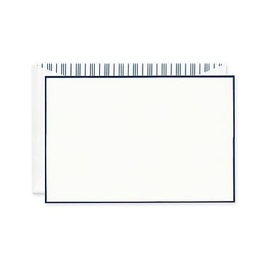 Crane & Co™ Lithographed Pearl White Correspondence Card With Envelope, Navy Bordered