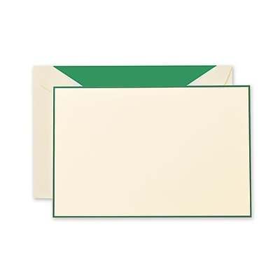 Crane & Co™ Lithographed Ecruwhite Correspondence Card With Envelope, Hunter Green Bordered