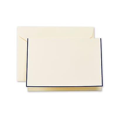 Crane & Co™ Ecru Note With Envelope, Regent Blue Bordered