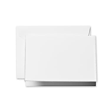 Crane & Co™ Pearl White Note With Envelope, Platinum Bordered