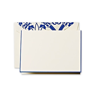 Crane & Co™ Ecru Regency Note With Envelope, Regent Blue Bordered