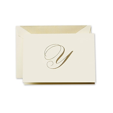Crane & Co™ Hand Engraved Ecru Initial Note With Envelope, Gold Script