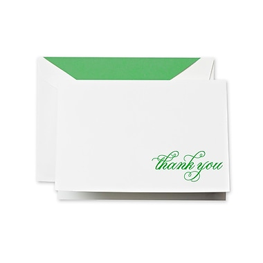 Crane & Co™ Hand Engraved Pearl White Thank You Note With Envelope, Spring Green