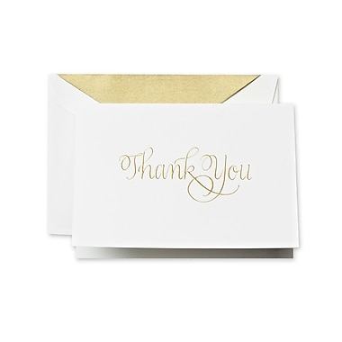 Crane & Co™ Hand Engraved Pearl White Thank You Note With Envelope, Gold Calligraphic