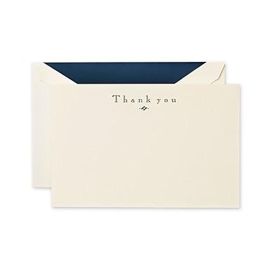 Crane & Co™ Ecru Thank You Card With Envelope, Navy Blue