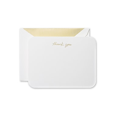 Crane & Co™ Pearl White Round Corner Thank You Card With Envelope, Gold
