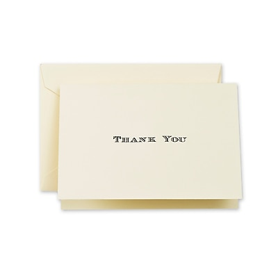 Crane & Co™ Hand Engraved Ecru Thank You Note With Envelope, Black