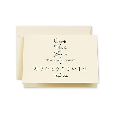 Crane & Co™ Ecru Multi-lingual Thank You Note With Envelope, Hunter Green