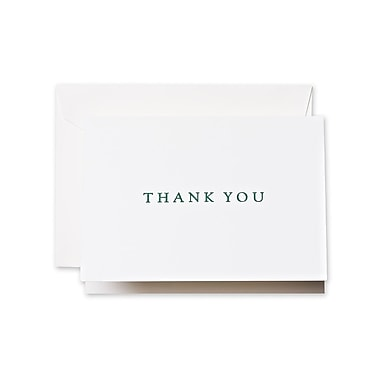 Crane & Co™ Letterpress Pearl White Thank You Note With Envelope, Hunter Green