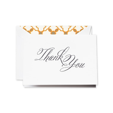 Crane & Co™ Hand Engraved Pearl White Thank You Note With Envelope, Charcoal Grey Script