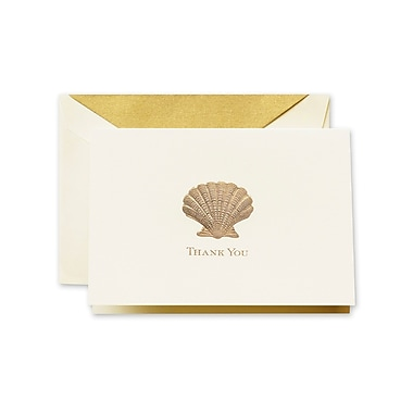Crane & Co™ Hand Engraved Ecru Thank You Note With Envelope, Gold Scallop