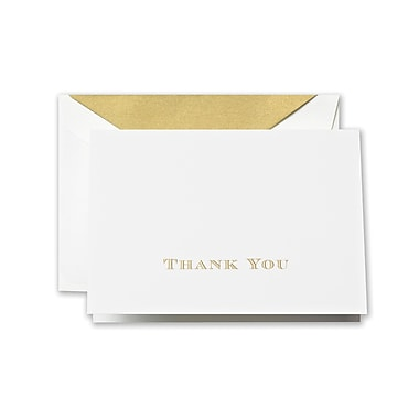 Crane & Co™ Hand Engraved Pearl White Thank You Note With Envelope, Gold