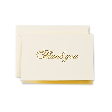 Crane & Co™ Ecru Thank You Note With Envelope, Gold Script