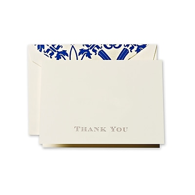 Crane & Co™ Hand Engraved Ecru Thank You Note With Envelope, Gold Regency