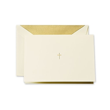 Crane & Co™ Hand Engraved Ecru Note With Envelope, Gold Cross