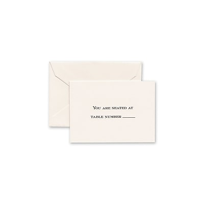 Crane & Co™ Hand Engraved Ecruwhite Table Card With Envelope, Black Block Text