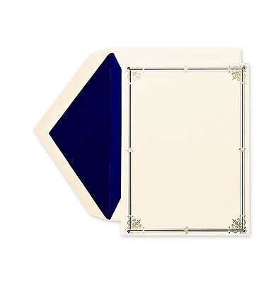 Crane & Co™ Hand Engraved Ecruwhite Printable Invitation Card W/Envelope, Navy/Gold Frame