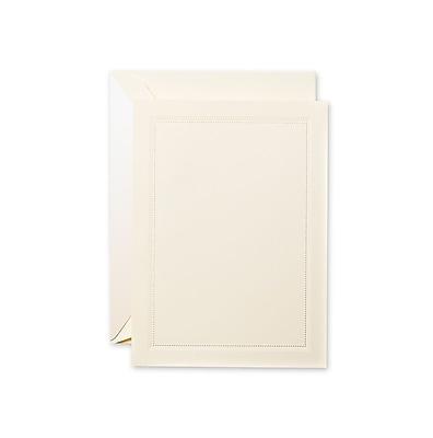 Crane & Co™ Blind Embossed Ecru Printable Invitation Card W/Envelope, Beaded Frame