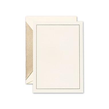 Crane & Co™ Hand Engraved Ecru Imprintable Invitation Card W/Envelope, Gold Rule Line