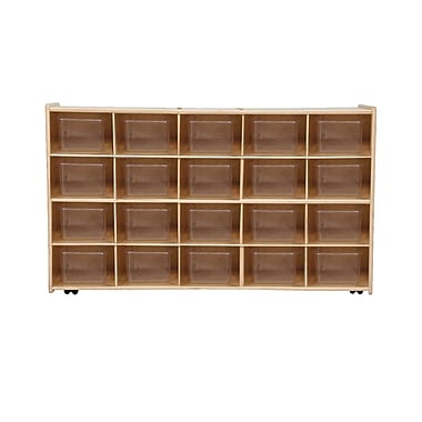 Wood Designs™ Contender™ Assembled 20 Tray Storage W/20 Translucent Trays and Casters, Baltic Birch