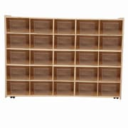 Wood Designs™ Contender™ Assembled 25 Tray Storage W/25 Translucent Trays and Casters, Baltic Birch