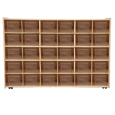 Wood Designs™ Contender™ Assembled 30 Tray Storage W/30 Translucent Trays and Casters, Baltic Birch