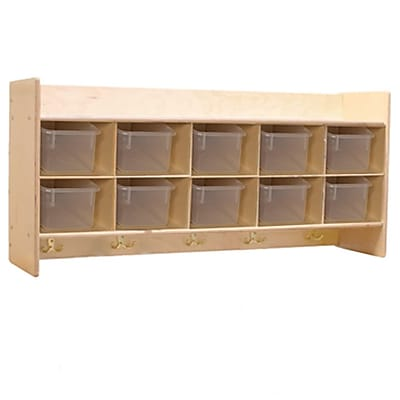 Wood Designs™ Contender™ Assembled Wall Locker and Storage With Translucent Trays, Birch