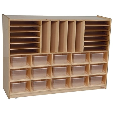 Wood Designs™ Multi-Storage With 15 Translucent Trays, Birch
